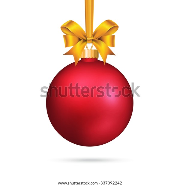 Red satin bauble with tied bow.