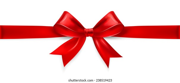 Red satin bow isolated on white background. Vector illustration