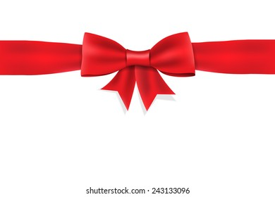Red satin ribbon and bow on white background.