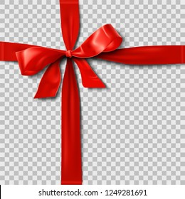Red Satin Ribbon Bow over Transparent Background
