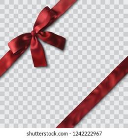 red satin ribbon and bow vector illustration