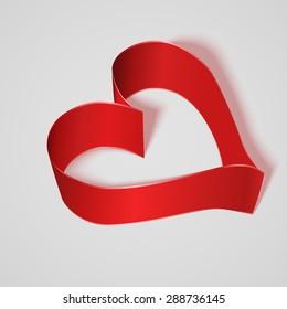Red satin ribbon heart. Vector illustration