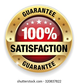 Red satisfaction guarantee badge with gold border on white background
