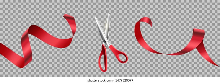 Red scissors cut ribbon realistic illustration. Grand opening ceremony symbols, 3d accessories on transparent background. Traditional ritual before launching new business, campaign