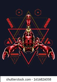 Red scorpion king zodiac vector illustration in sacred geometry pattern