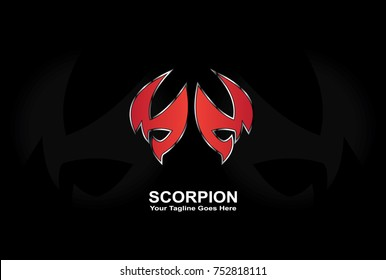 red scorpion logo, modern and futuristic logo for gaming team or laptop wallpaper