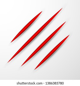 Red scratch set. Claws scratching animal scrape track. Vector illustration.
