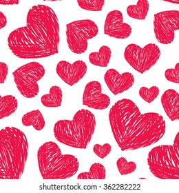 Red scribble hearts on white background. Seamless pattern for Valentines day design.