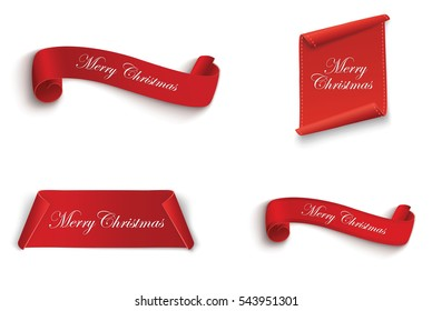 The red scroll. merry Christmas and happy new year.set of banners.