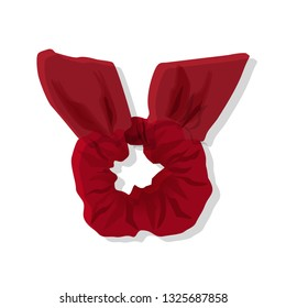 Red Scrunchy isolated on white. Hairband for woman. Vector Illustration