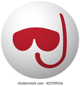 Red Scuba Diving icon on white ball