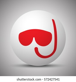 Red Scuba Diving icon on white sphere