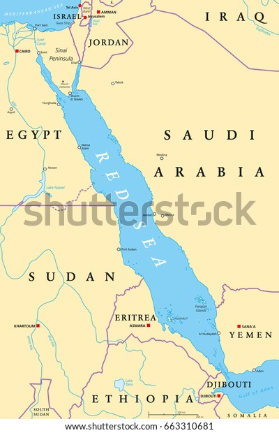 Red Sea On Africa Map Red Sea Region Political Map Capitals Stock Vector (Royalty Free