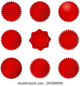 Red Seals - Set of 9 different red seals.  Each seal is grouped separately for easy editing.  Colors are just a few global swatches, so they can be modified easily.