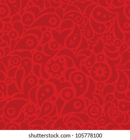 Red seamless pattern with geometric shapes: stars, leafs, drops and circles.
