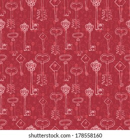 red seamless pattern with retro keys
