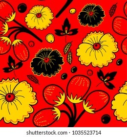 Red seamless pattern in traditional Russian style with flowers and berries. Vector illustration.