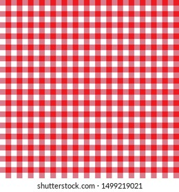 Red seamless table cloth texture. Vector illustration.