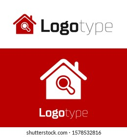 Red Search house icon isolated on white background. Real estate symbol of a house under magnifying glass. Logo design template element. Vector Illustration