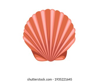 Red seashell simple nautical souvenir vector illustration isolated on white background