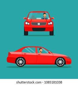 Red sedan car two angle set. Car with driver man side view  and front view. Vector flat style illustration