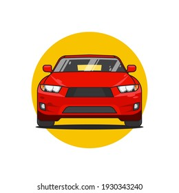 Red sedan muscle car front view, vector illustration