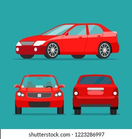 Red sedan three angle set. Car side view, back view and front view. Vector flat illustration