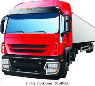 Red semi truck pulling trailer.