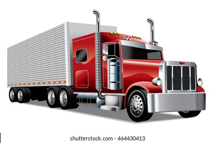 red semi truck with trailer delivering goods