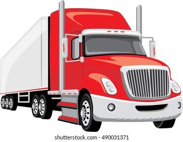 Red semi truck. Vector