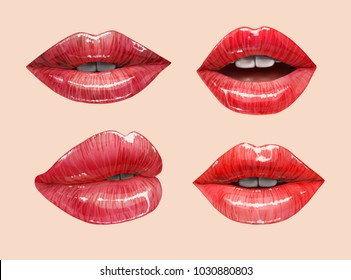 Red sensual juicy lips collection. Mouth set. Vector lipstick or lip gloss 3d realistic illustration.