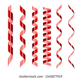 Red serpentine realistic set. Glowing spiral vector tape . Shiny confetti for wrapping paper, postcards, presents decoration. Festive ribbons border. 3d design element isolated on white background