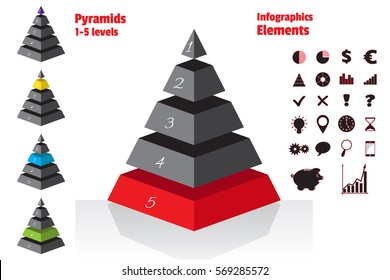 Red set of isometry symmetrical pyramid charts, diagram 5 levels. Elements infographics. Vector