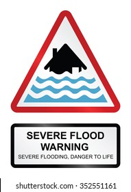 Red severe flood warning sign isolated on white background