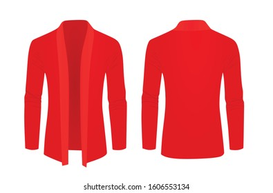 Red shawl sweater. vector illustration