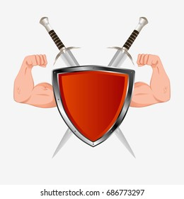 Red shield with arms and two swords. Isolated on white. Flat vector stock illustration.