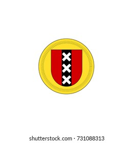Red shield with black pale and three crosses - flat line coat of arms of Amsterdam on isolated white background. Vector heraldic emblem of the capital of the Netherlands.