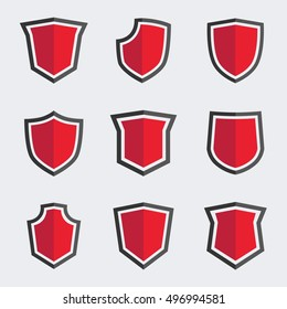 Red shield icons. Vector set. Flat illustration.
