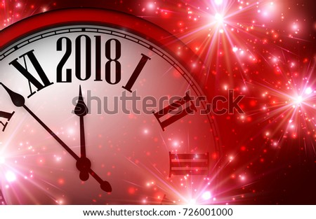 red shining 2018 new year background with clock vector illustration