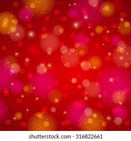 Red shining background with bokeh, vector illustration