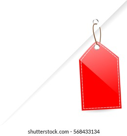 Red Shining Blank Tag  isolated on white
