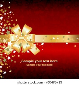 Red, shining, gold background. Golden bow and stars. Golden ribbon. Brilliant confetti . Happy holiday!