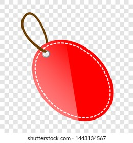 Red Shining Oval Blank Tag with at transparent effect background