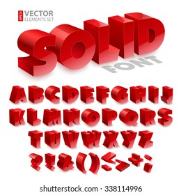 Red shiny 3d solid bold font alphabet isolated on white background. RGB EPS 10 vector elements set