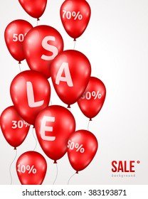 Red Shiny Balloons with Sale letters and Percent Sign on White Background. Vector Illustration. Grand Opening Advertisement. Concept of Discount. Design elements template for holiday event.