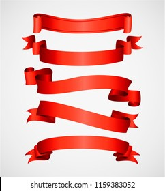 Red shiny curved ribbons isolated on white background. Vector collection of blank elegant labels, stickers or banners. Realistic design element for greeting or gift card and invitation for holidays.