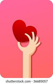 Red shiny heart (heart shape card) and human hand.