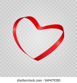 Red shiny heart shape from ribbon Isolated on Transparent Background. Easy replace backdrop. Vector Design element.