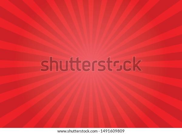Red shiny starburst background. Vector illustration.