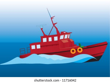The red ship going on the ocean